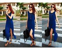 Summer Chiffon Blue Sleeveless Pleated Dress For Women Bohemia Maxi Long Chiffon Dress Long Summer Dress Two-Piece Dress FT489