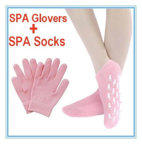 SPA Gel Whiten Skin Exfoliating Moisturizing crack peeling Treatment Silky foot feet health care Silicone Gloves socks hand mask(China (Mainland))