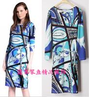 New 2014 Italian Luxury Brands Women's Blue Geometry Print Long Sleeves With Sashes Plus Size XXL Stretch Jersey Silk Dress