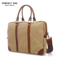 Vintage men handbags shoulder bag casual bolsos canvas crazy horse leather bags men briefcase laptop bolsas men's travel bag