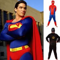 Hot sale Fashion Adult Superman/Spiderman/Batman Cosplay Costume Halloween Suit Super Man Costumes