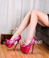 spring autumn 2014 sexy sequins wedding Gold Sliver shoes,18 19cm Ultra high heels women's single red bottom shoes,Eur 40-45 46