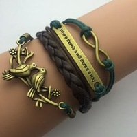 AB042 Fashion jewelry leather Double infinite multilayer bracelet factory price wholesales