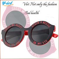 Free Shipping 2014 New 5 Colors  Fashion Glasses Black Mirror  Women Flower Uv400 Round Sunglasses Wholesale