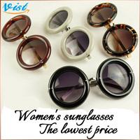 Hot Sale 2014 New Summer Women frame Sunglasses Black alloy round glasses Gafas Female Uv400 Sunglass 2Pcs/5% Off