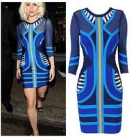 European new sexy nightclub seventh round neck long-sleeved chiffon stripes hit the color bandage dress free shipping