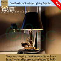 High Quality Ofhead Decoration Gold Pistol Style Gun Shaped Gold Color Classic Table Lamp With Black Lampshade For Style Room