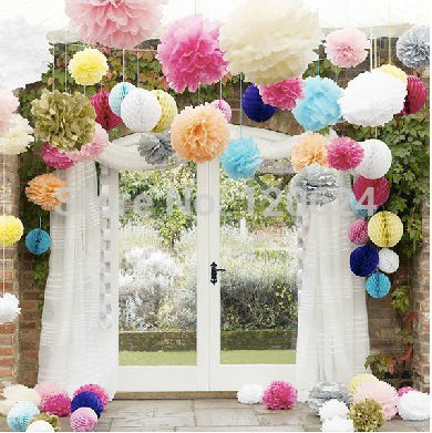 20cm=8 inch 15pc / lot Tissue Paper Flower Ball lanterns festive supplies Party Decor Craft For Wedding Decoration multi color(China (Mainland))