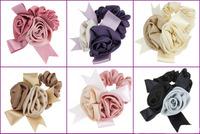 Free Shipping High Quality  Ribbon Hair Scrunchies elastic Spring Rose Flower Hair Bands Ponytail Holder