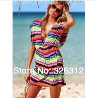 Wholesale Women Hawaiian silk Dress Sexy Zebra Rainbow Dot print Beachwear Swimwear Beach Dress Blouse Bikini hood Shirt RJ2136