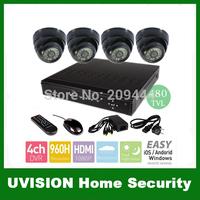Home 4CH HDMI H.264 CCTV Security Cameras DVR System 4PCS 480TVL Sony CMOS indoor dome ir cameras 4ch Kit for DIY CCTV Systems