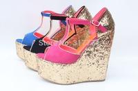 2013 wedges women sandals all-match paillette cutout platform ultra high heels plus size shoes small yards 30 - 43