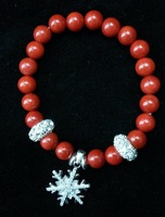 *ORIGINAL* Real Red Corallite With 925 Silver Snowflake (man-made diamonds)