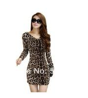 2014 one-piece dress leopard print slim hip women's summer V-neck close-fitting sexy
