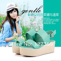 Free shipping 2014 sweet genuine leather hasp casual platform wedges platform brief female sandals