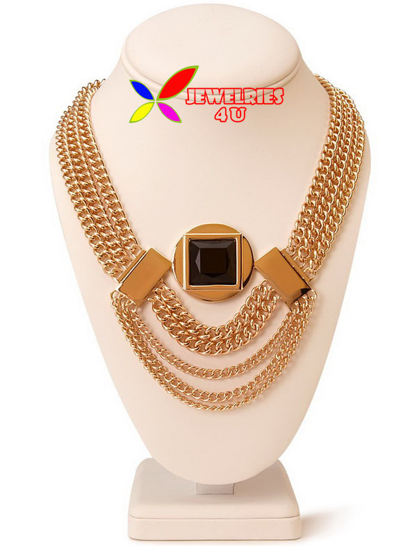 2014 newest collar bib fashion golden multilayer chain black square stone tassel necklaces & pendants for women bijoux(China (Mainland))