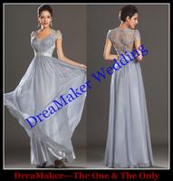DMC010 Hot sale New Arrival V Neck Sexy Transparent Back Floor Length Short Sleeve Fashion Lace Prom Dress 2014