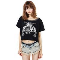 New 2014 Summer Double Butterfly Rose Print O-neck Retro Finishing Short design Short-sleeve T shirt Women shirt haoduoyi