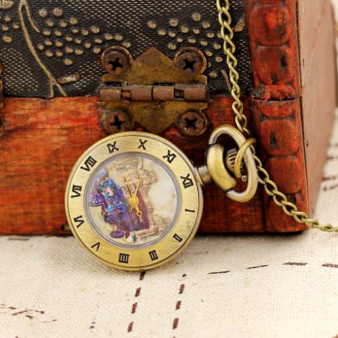 Free Shipping Wholesale Dropship Small Pocket Watch Necklace Clock Women Mini Gifts Pendant Watches(China (Mainland))