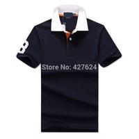 Free Shipping 2014 Brand Men Slim Fit Shirts For Men Brand Lapel Shirt Polo Shirt 100% cotton