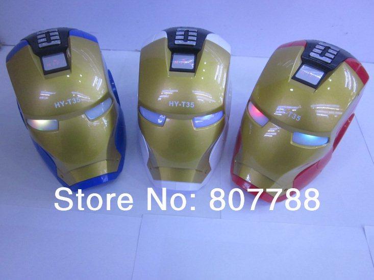 Cartoon Iron Man Speaker mp3 Player Mini Card Small Audio U-disk/FM(China (Mainland))