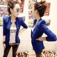 2014 New Womens Korea Fashion Metal Collar Slim Shrug Blazer Coat 5 Colors free shipping