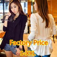 New 2014 Autumn Women Casual Suit Blazer Behind Fold Chiffon Stitching Outerwear Coat One Button Cardigan Female Slim Jacket
