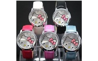 1 Lot=10PCS Wholesale Big Size 4CM Hello Kitty Quartz Watch,Fashion Classic Children Cartoon Watches,Gift for Students ,Relogios