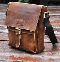 2014 New Vintage Casual Genuine Leather Full Grain Leather Cowhide Men Messenger Bag Shoulder Bag Ipad Bag Bags For Men 8571