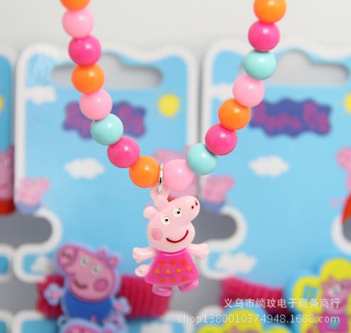 1pc necklace+1pc bracelet 2014 new fashion handmade Peppa pig dangle pendant baby kids girls boys Jewelry Beads beaded Sets(China (Mainland))