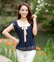 Women New Blusa Renda 2014 Summer Chiffon Shirt Female Ladies Dot Loose Plus Size S-4XL Blouses Chifon Blusas Estampada feminino