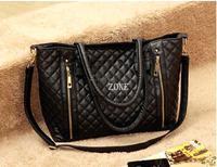 Black Retro Women Office Lady PU Quilted Shoulder Tote Bag Hobo Handbag Fashion free shipping SV000153 B003