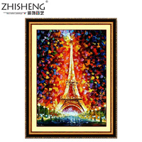 New 2014 Top Grade Cotton Printing on Canvas The Eiffel Tower Chinease Cross Stitch Kit  European Style With Needlework Tools