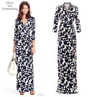 new fashion spring summer autumn ice cotton black blue plus size print women casual vestidos long dress party dresses 2014