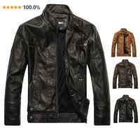 2014 spring men's leather jacket short design fashion slim motorcycle genuine leather jacket plus velvet men's clothing
