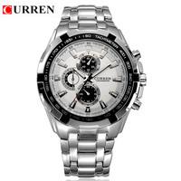 CURREN 8023 High Quality Curren men stainless steel Watches Alloy Strap Quartz Wristwatch Men's Watches Clock 1pcs/lot
