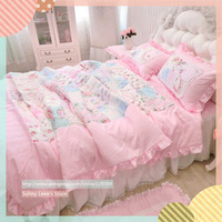 Quality Modal cotton bedding set quilted printed duvet cover textile lace princess bedskirt wedding bedroom textile 4pcs/set