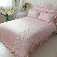 Julliette&Dream warm textile pink short plush bedding set soft smooth wedding decoration bedding Embroidery duvet cover romantic