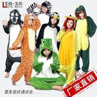 Love cute animals apartment with paragraph flannel pajamas ordinary couple dinosaur cartoon costume piece tracksuit L163