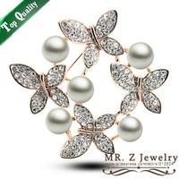 Fashion Rhinestone Butterfly Brooch Collar Pearl Brooches For Wedding Free Shipping