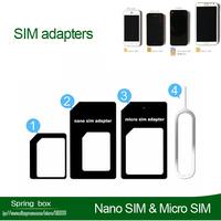SIM card adapters for iphone 5 5G 4S Nano SIM & Micro SIM & Standard SIM 4 in 1 for SAMSUNG Free gift