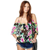 2014 Summer Women Spaghetti strap   neckline perspectivity rose print loose chiffon shirt  blouses