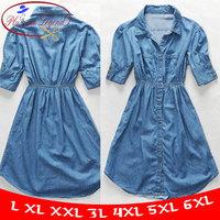 XL To 6XL! New 2014 Big Size Women Dresses Summer Thin Denim Blue Color One-piece Dress Casual Dresses Half Sleeve BB5500