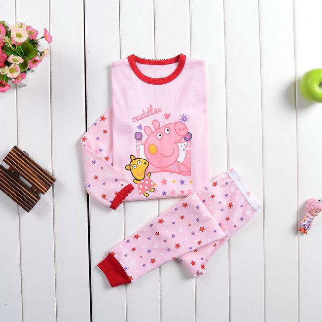 Free Shipping 2014 New Baby Wear Girls Peppa pig Pajamas Children's Cartoon Pyjamas Suits Kids Printed Sleepwears Home Clothing(China (Mainland))