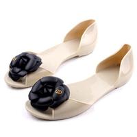 2014 summer bohemia camellia sandals flat heel open toe shoe female sandals jelly shoes rain boots camellia flower
