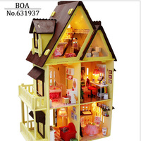 Free Shipping Diy Doll House Assembling Handmade Model Building Kits Gift Belt 3D Miniature Wooden Dollhouse Toy Christmas Gifts