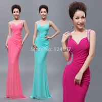 Free Shipping 2014 double-shoulder V-neck slim sexy fish tail design long evening dress formal dress banquet evening dress