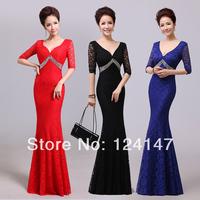 Lace half sleeve V-neck sexy half sleeve fish tail design long formal dress banquet evening dress