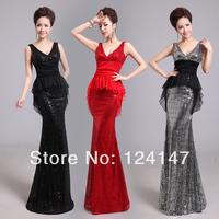Free Shipping Double-shoulder sexy deep V-neck slim hip fish tail placketing design long evening dress formal dress dinner