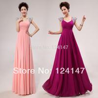 Free Shipping 2014 slim shoulder pads deep V-neck design long evening dress the bride banquet